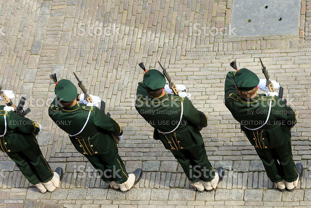 military ceremony on Binnenhof during Prinsjesdag in The Hague stock photo