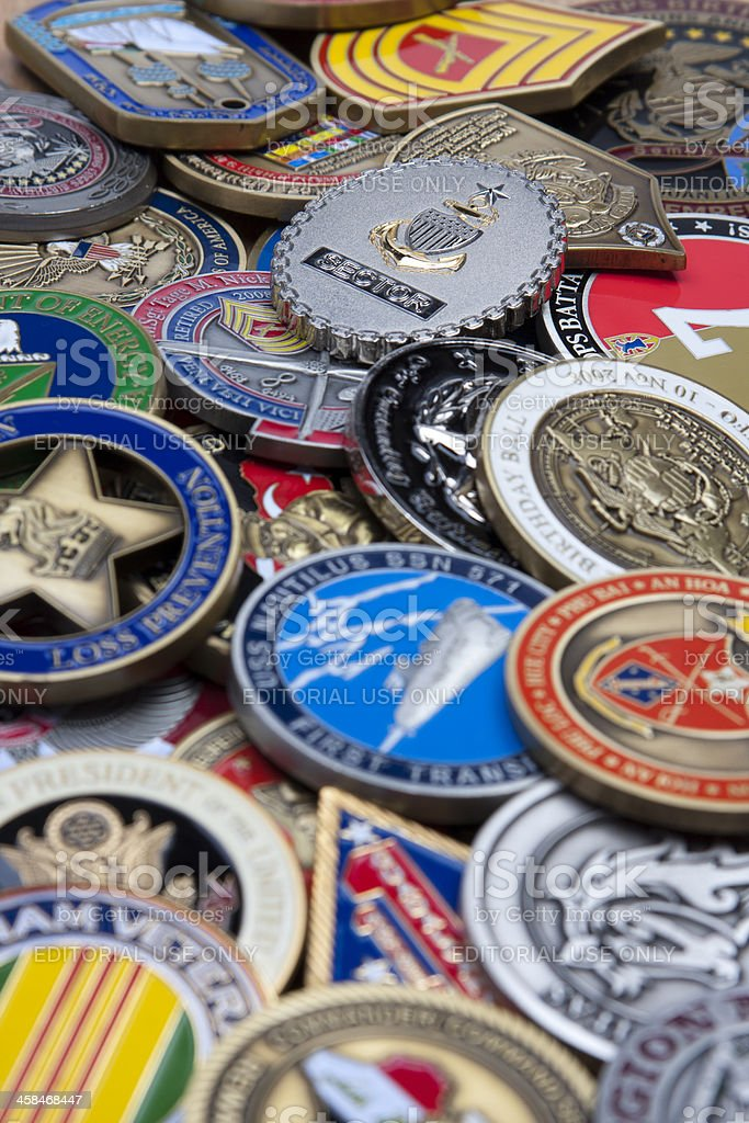 Military Challenge Coin Collection royalty-free stock photo