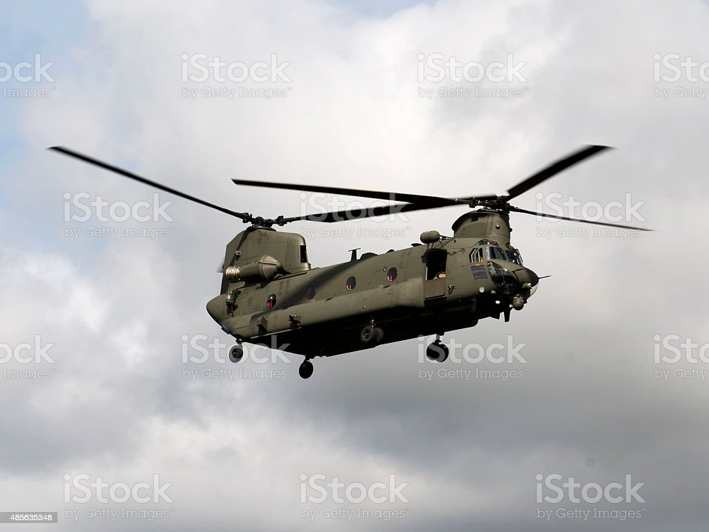 Military Chinook Helicopter in Flight stock photo