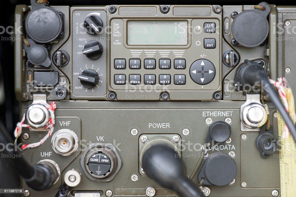 Military communication control panel. stock photo