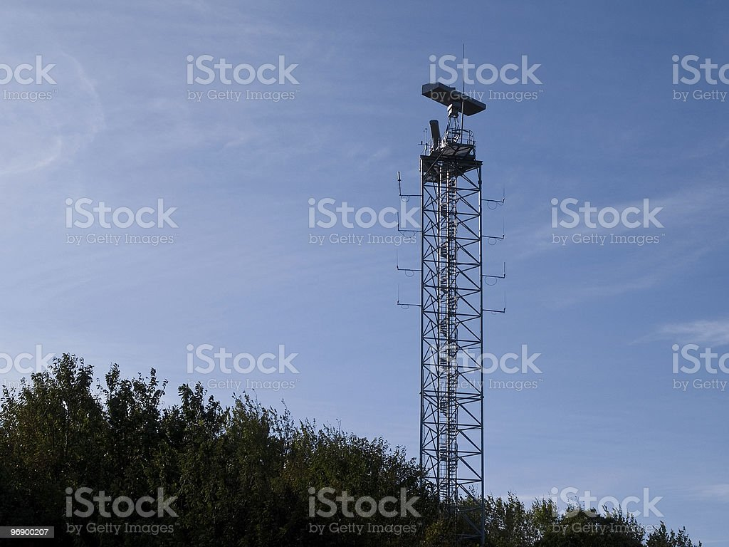 Military communication radar tower royalty-free stock photo