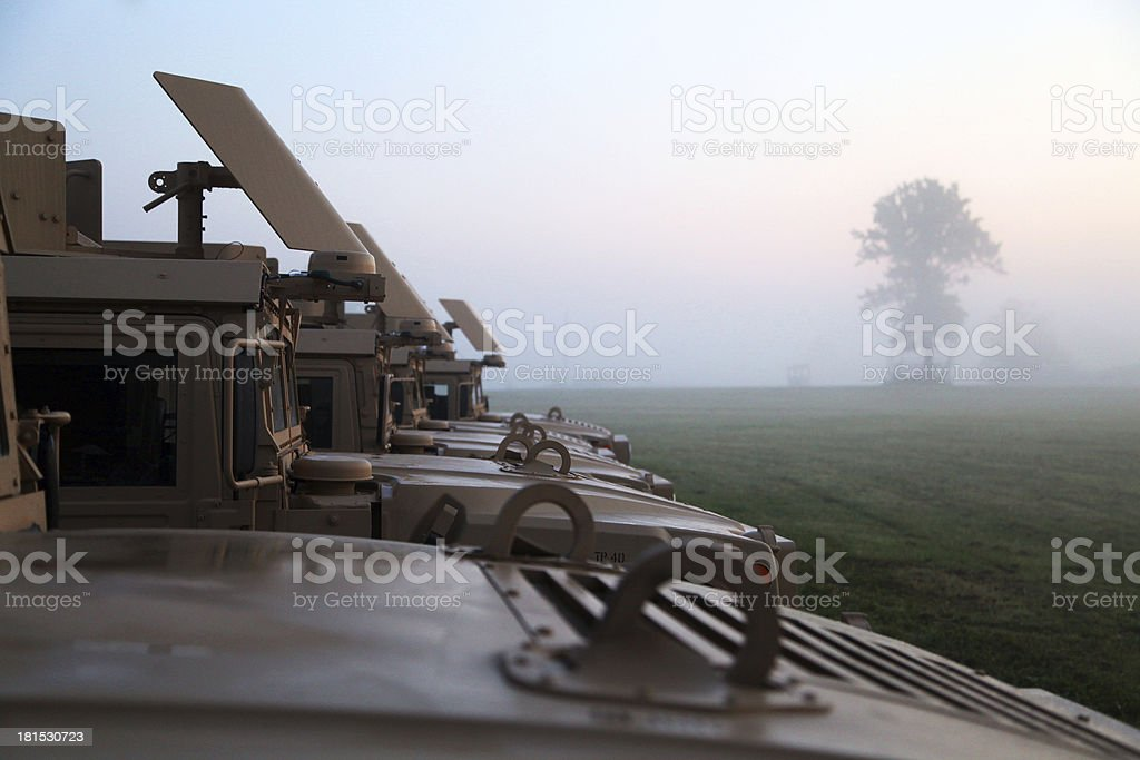 Military convoy stock photo