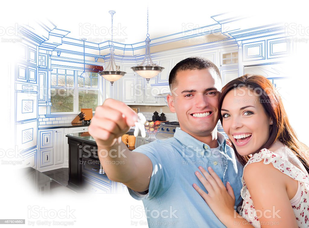 Military Couple with House Keys Over Kitchen Drawing and Photo stock photo