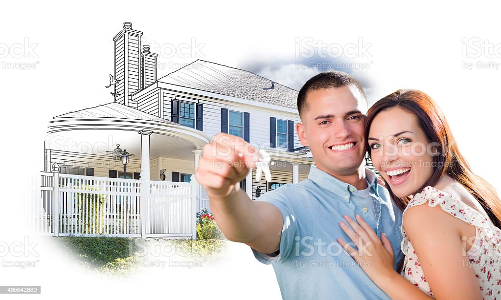 Military Couple with Keys Over House Drawing and Photo stock photo