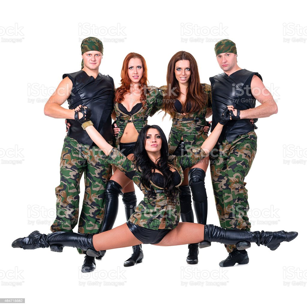 2b2ca7ea9f69 military dancer team dressed in camouflage costumes royalty-free stock photo