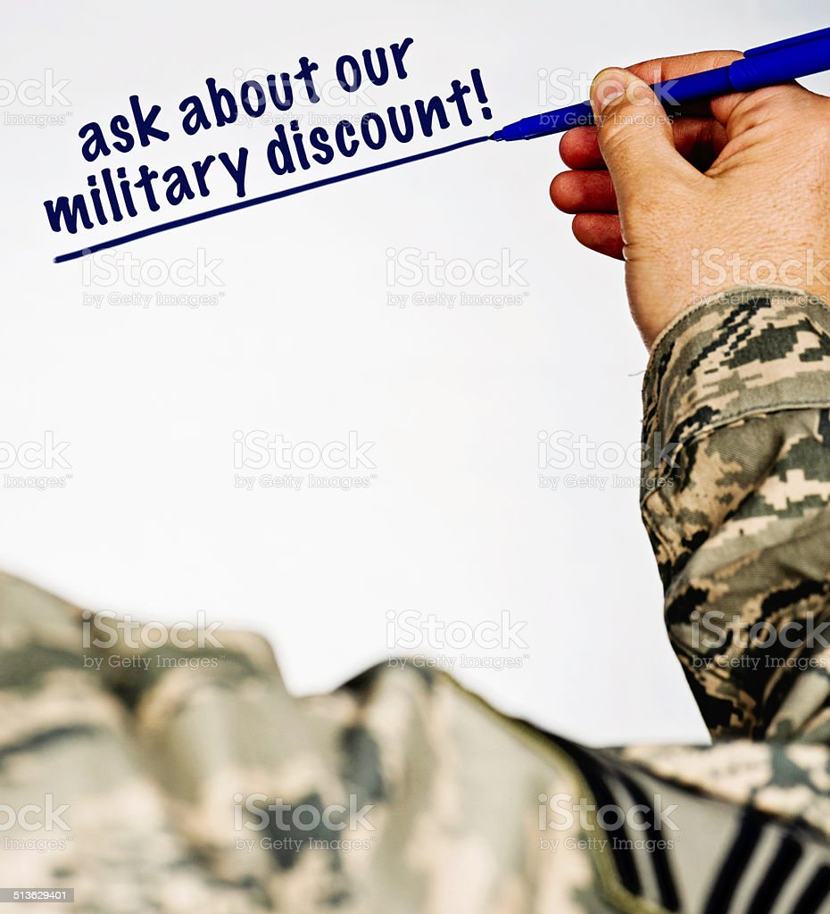 Military Discount Available! stock photo