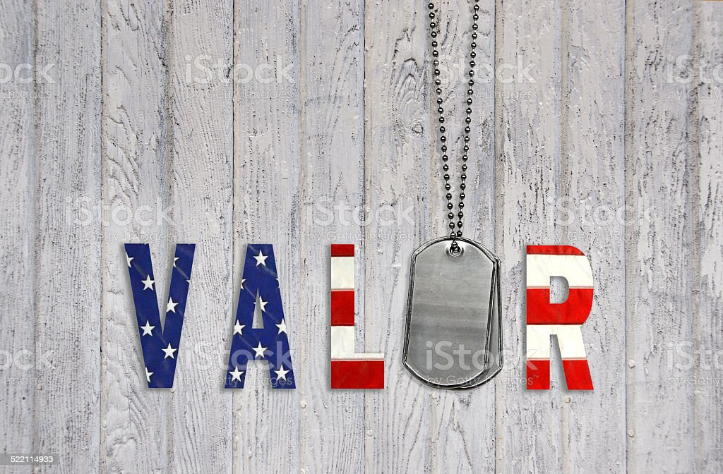 Military dog tags on weathered barn wood with flag font design for...