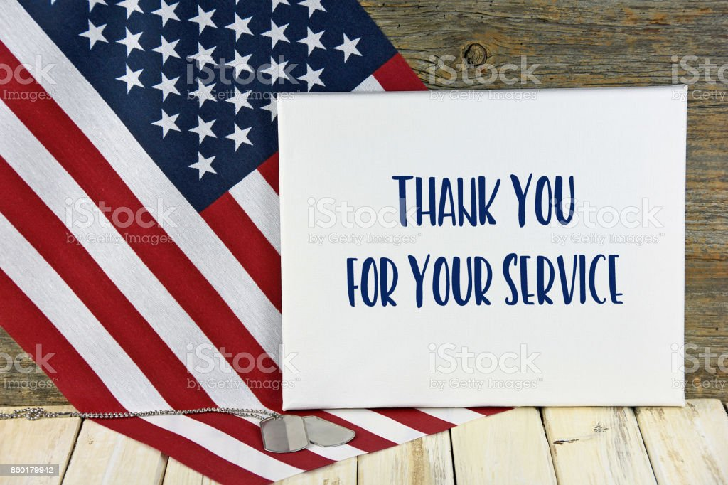 military dog tags with thank you sign stock photo