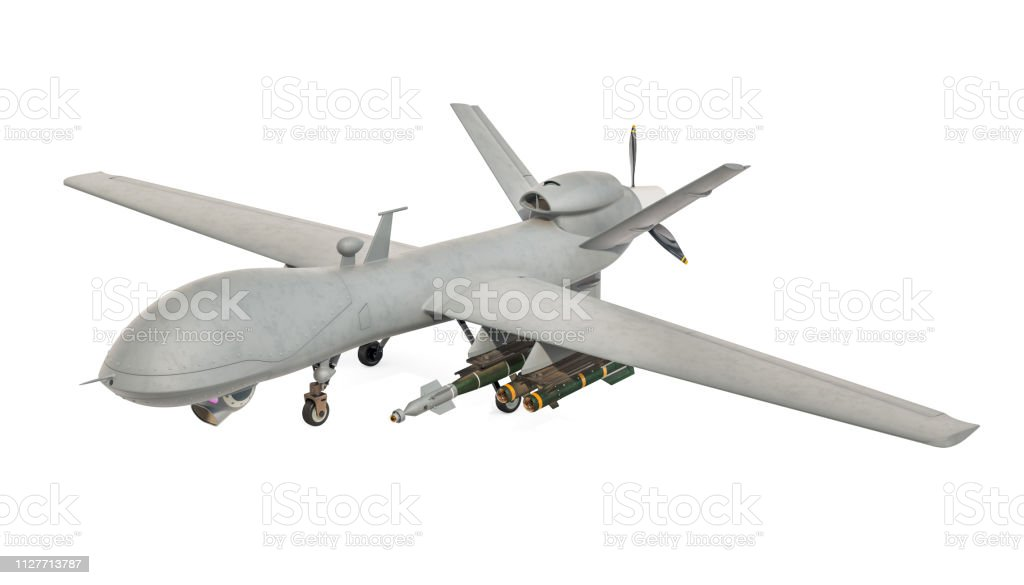Military Drone. 3D rendering isolated on white background stock photo