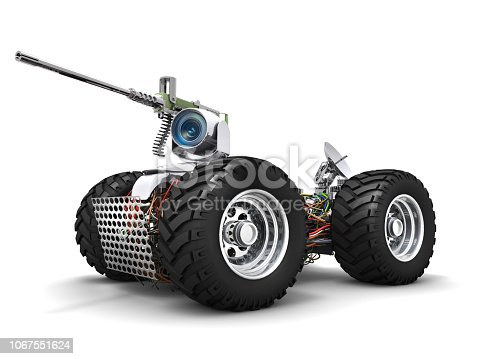 Electrical armored sniper robot automobile.