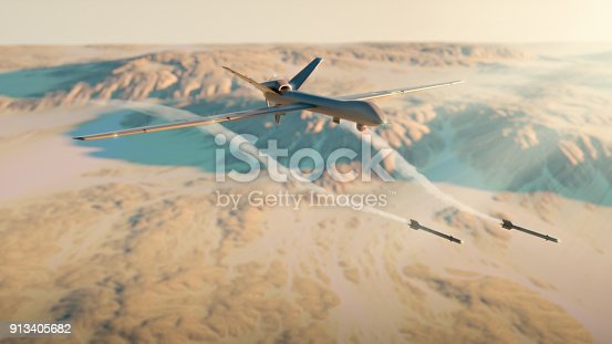 Military drone rocket attack - 3d rendered image. Illustration of UAV remotely-operated. Aerial view. Desert. Landscape like Iraq, Iran, Afghanistan, Syria. Military technology concept.