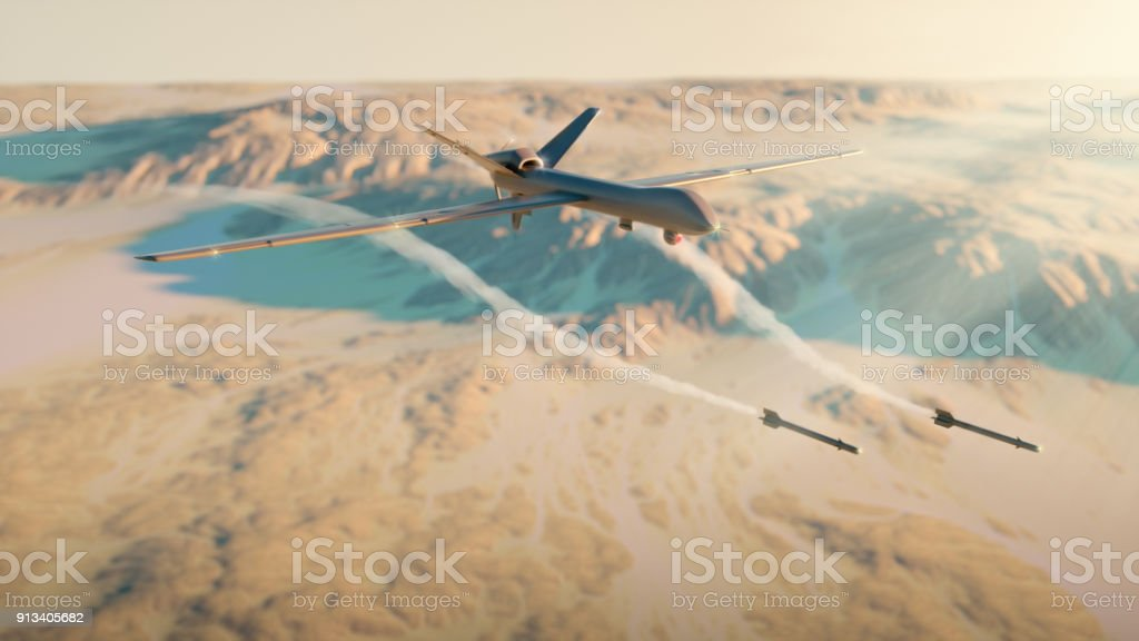 Military drone rocket attack stock photo