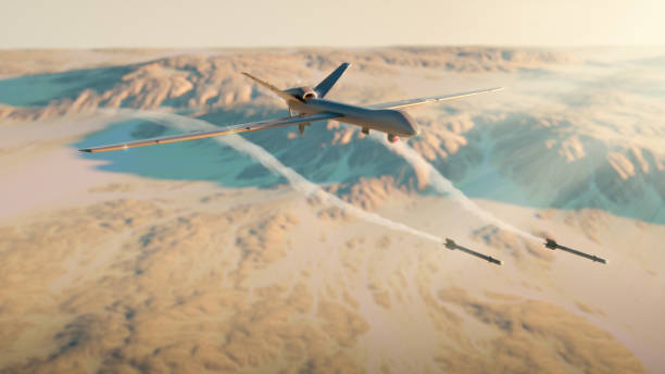 Military drone rocket attack Military drone rocket attack - 3d rendered image. Illustration of UAV remotely-operated. Aerial view. Desert. Landscape like Iraq, Iran, Afghanistan, Syria. Military technology concept. iran stock pictures, royalty-free photos & images