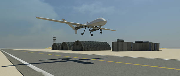 Military drone (UAV) take-off sequence stock photo