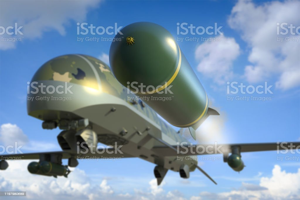 military drone with missiles 3d rendering military drone with missiles in blue sky Aerial View Stock Photo