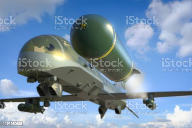 Military Drone With Missiles Stock Photo - Download Image Now