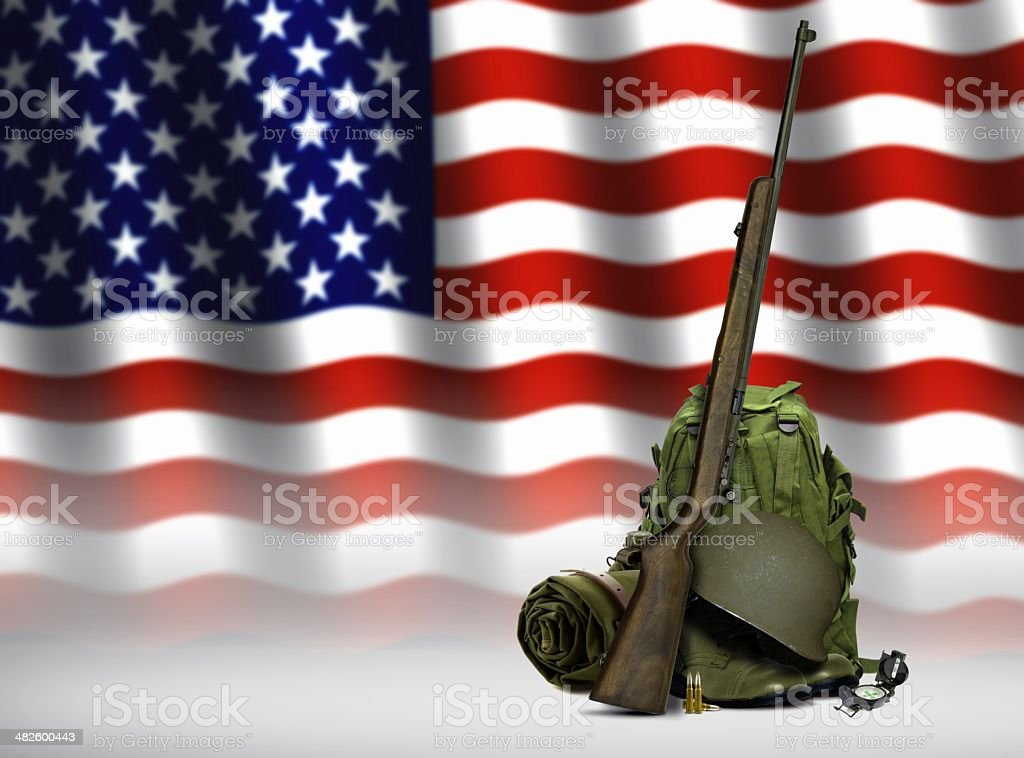 Military Equipment and American Flag stock photo