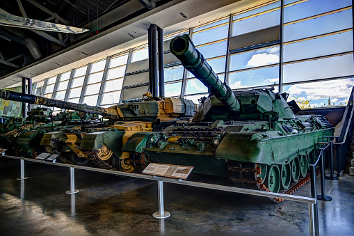Military equipment and tanks on display at the War Museum in Ottawa Ontario