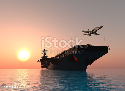 A warship and an airplane on the sea. ,3d render