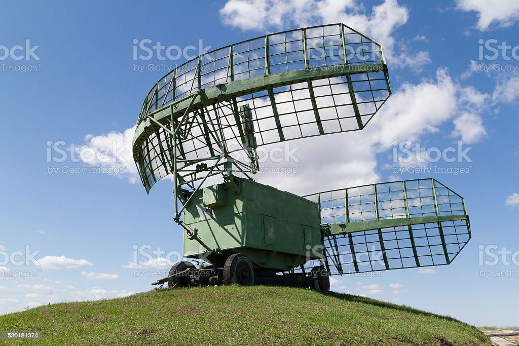 military equipment radio radars in blue sky. stock photo
