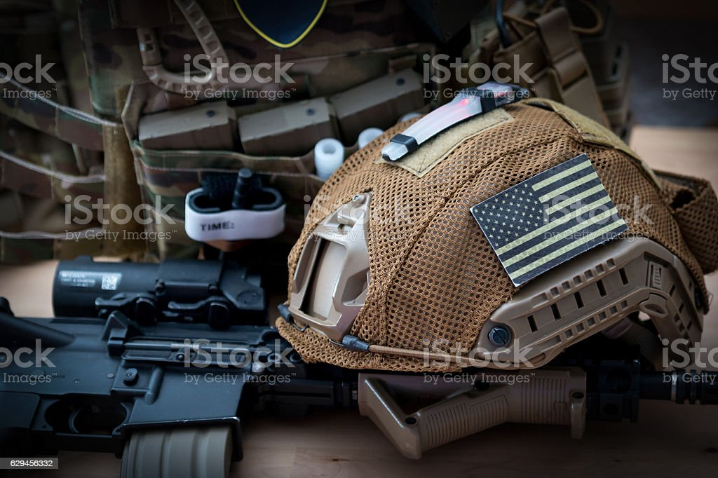 military equipment with a rifle stock photo