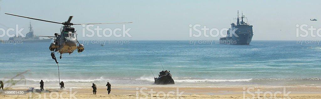 Military exercises stock photo
