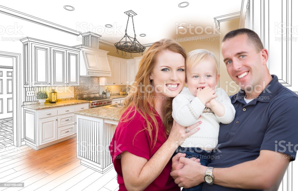 Military Family In Front of Kitchen Drawing Photo Combination stock photo