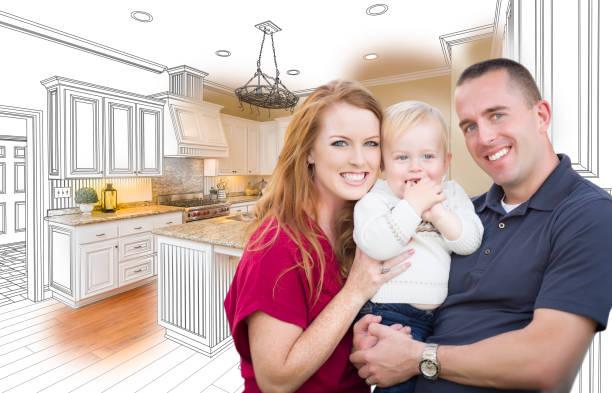 military family in front of kitchen drawing photo combination - küche neu gestalten ideen stock-fotos und bilder