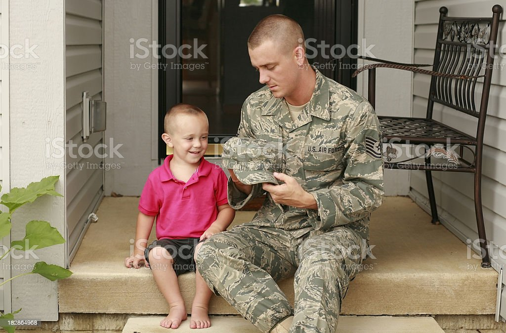 Military Father and Son stock photo