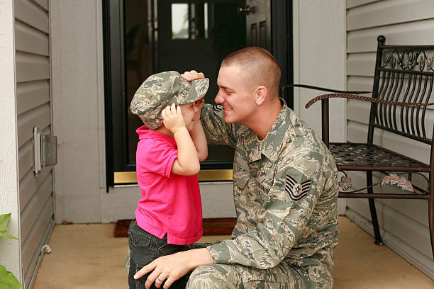 Military Father and Son Military dad having fun with his son. air force stock pictures, royalty-free photos & images