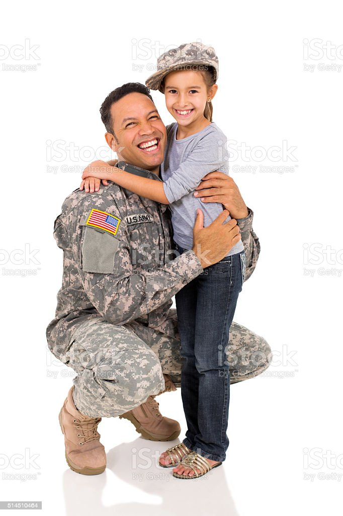 military father hugging his daughter stock photo