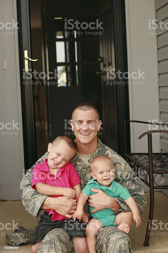 Military Father with his Sons stock photo