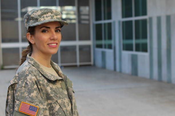 Military female smiling with copy space Military female smiling - Stock image with copy space air force stock pictures, royalty-free photos & images