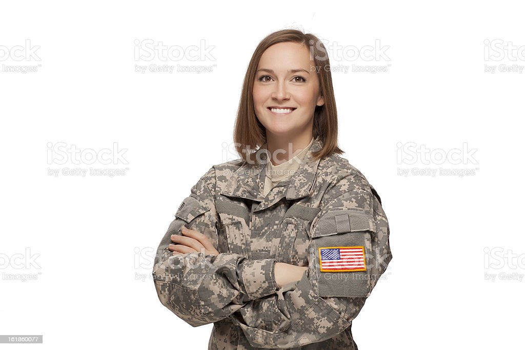Military female with her arms crossed A smiling soldier in camouflage clothing Adult Stock Photo