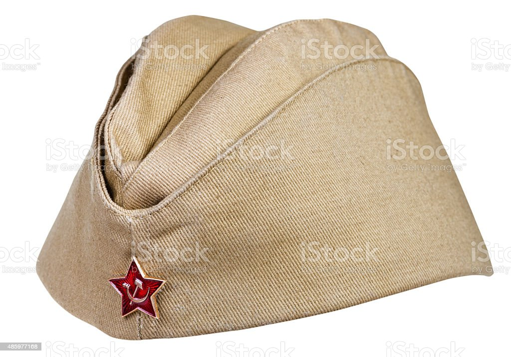 military field cap with soviet red star isolated stock photo