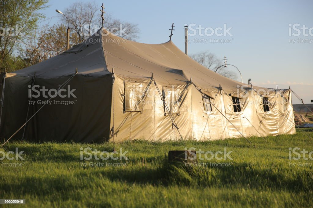 Military field chapel in the tent. stock photo