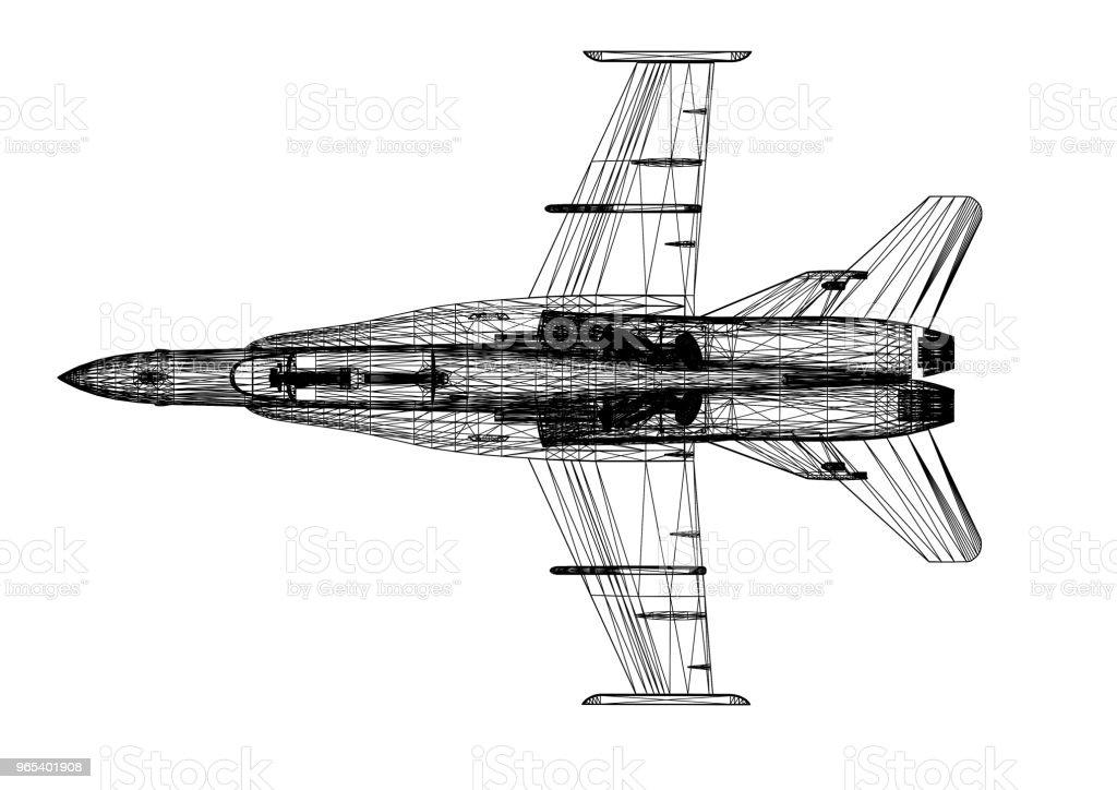 군 전투기 비행기 건축가 청사진-절연 - 로열티 프리 개념 스톡 사진