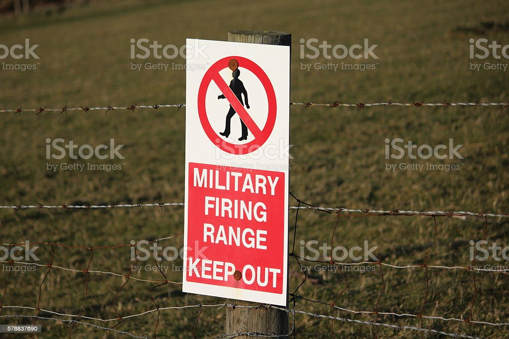 Military Firing Range Sign - Keep Out stock photo