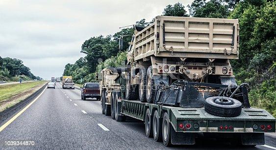 istock US Military Flatbed Semi-Truck Hauling Heavy Military Dump Truck 1039344870