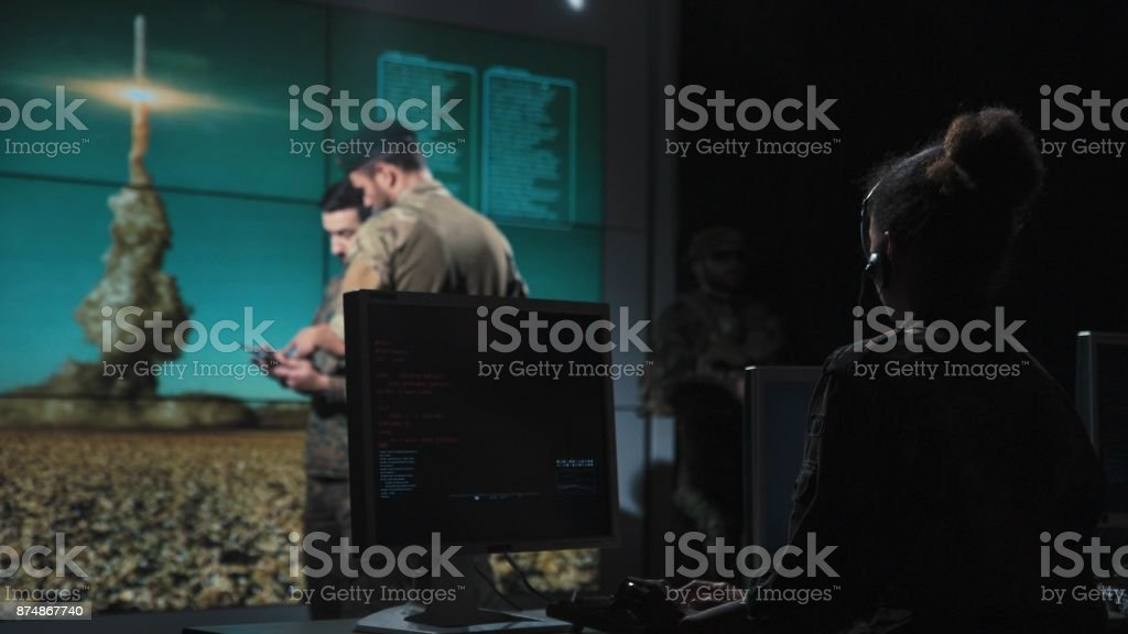 Military forces controlling missile launch stock photo
