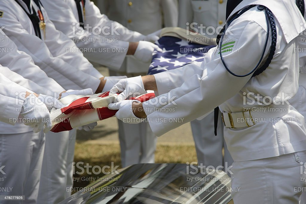 Military Funeral Close Up Flag being Folded royalty-free stock photo