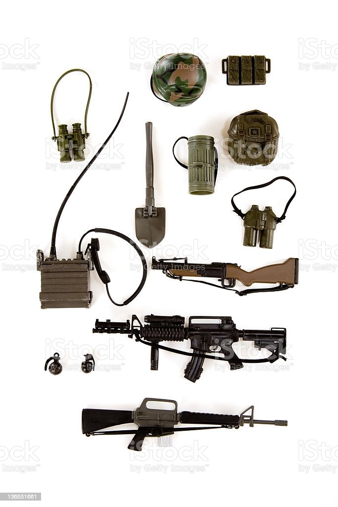 Military gear and weapons stock photo