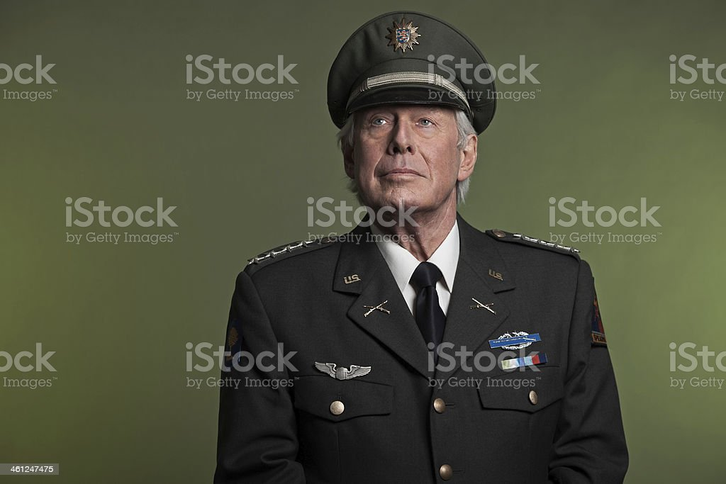 Military general in uniform. Studio portrait. stock photo
