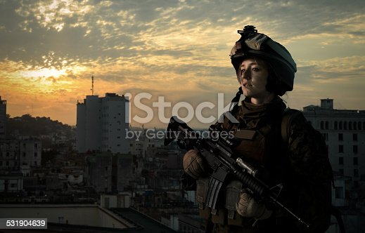 istock Military girl in uniform of the U.S. Army 531904639