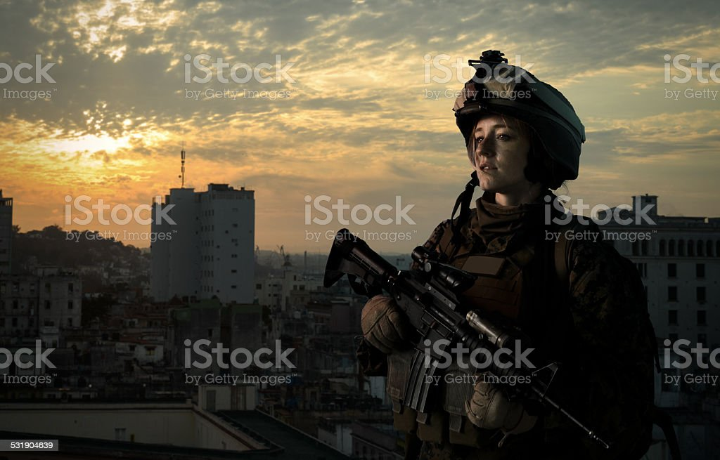 Military girl in uniform of the U.S. Army stock photo