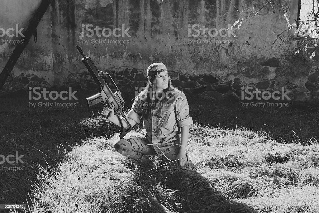 Military girl stock photo
