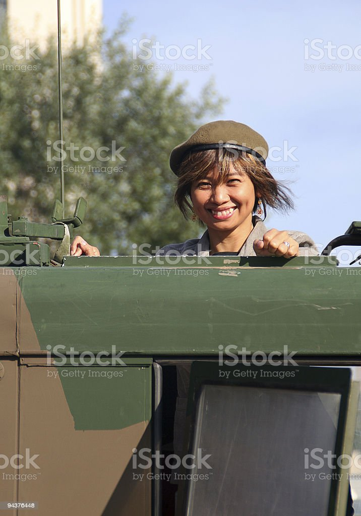 Military girl smiling royalty-free stock photo