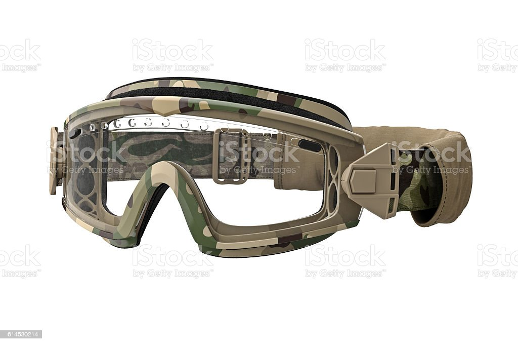 Military goggles, camouflage stock photo