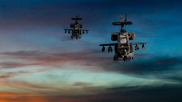 Military gunships flying with dramatic sky – Foto