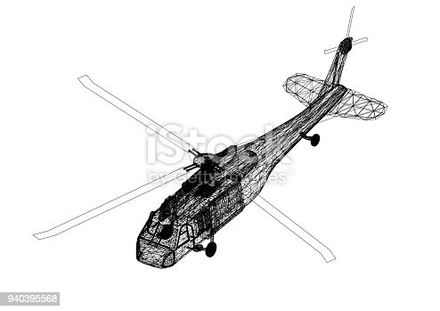 istock military helicopter 3D blueprint - isolated 940395568
